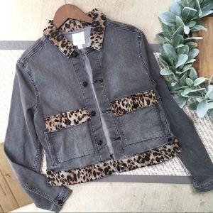 LuLaRoe Grey Denim Jean Jacket with Animal Print